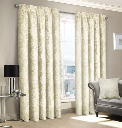 CREAM JACQUARD FLORAL DAMASK DESIGN LINED PENCIL PLEAT STYLISH LUXURY STYLISH CURTAINS